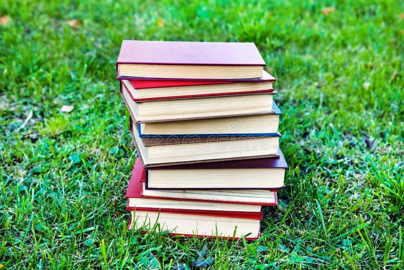 Livros sobre a grama fotos de stock