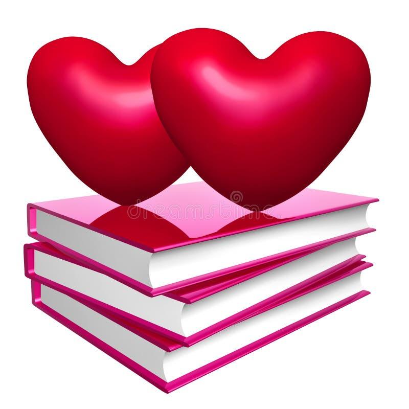 Livros sobre o símbolo do ícone do amor, da união e do romance ilustração royalty free