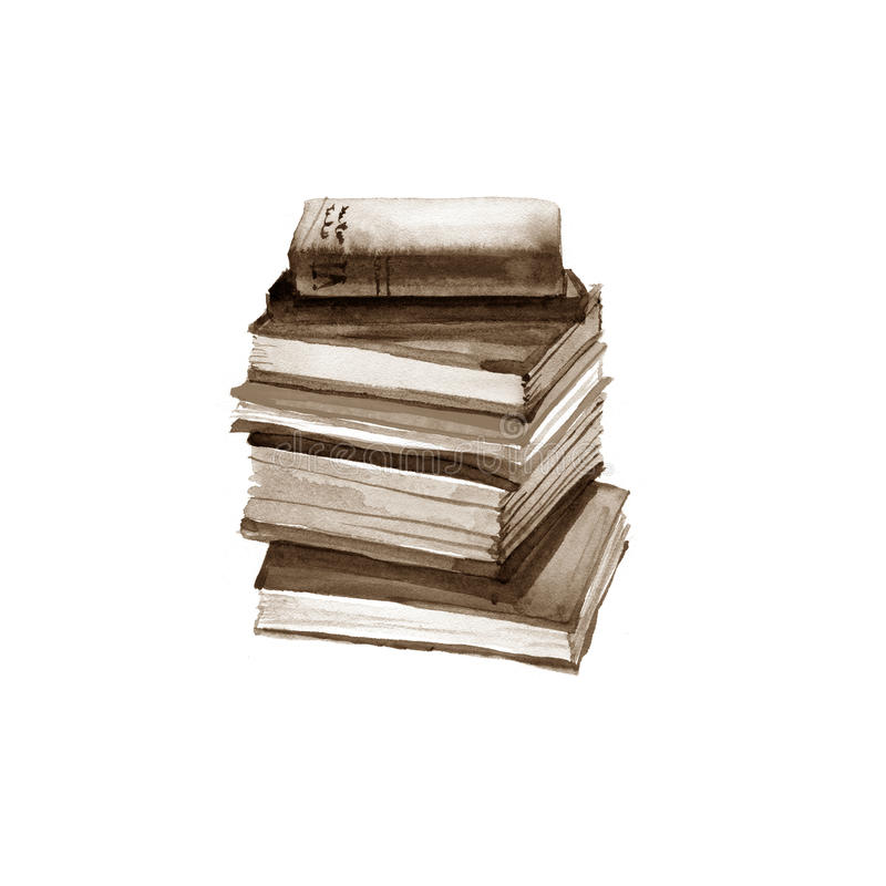 Livros velhos da aquarela Isolado no branco ilustração do vetor