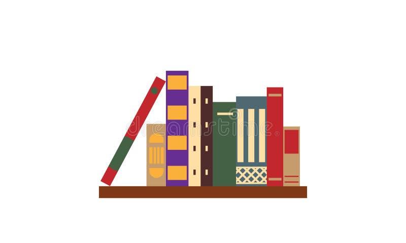 Livros velhos do vintage na prateleira isolada no branco Ilustração do vetor Projeto liso ilustração stock