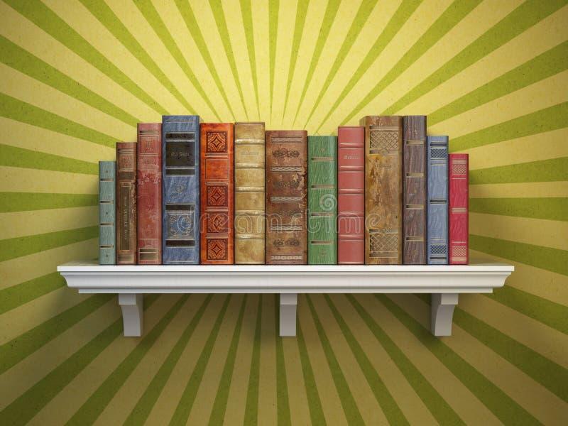Livros velhos do vintage na prateleira Vin clássico da literatura e da educação ilustração stock