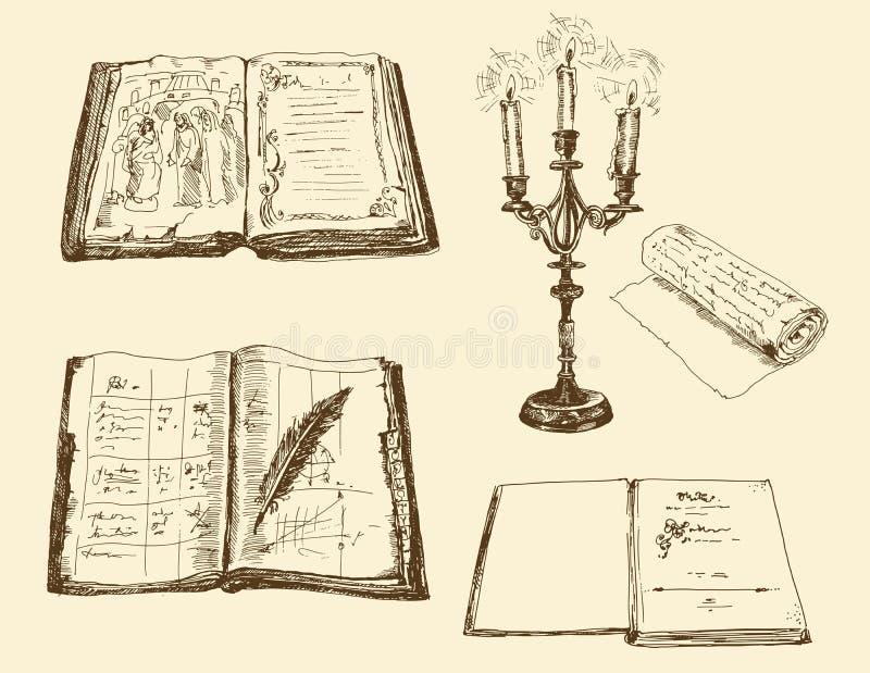 Livros velhos e registros ilustração do vetor