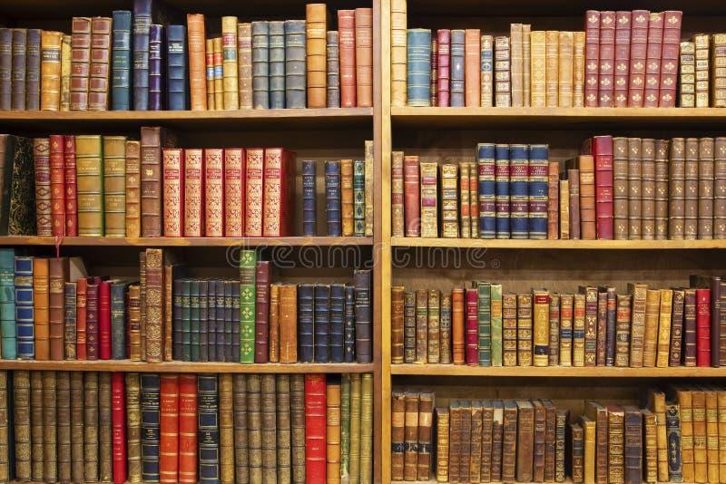 Livros velhos em prateleiras de madeira foto de stock royalty free