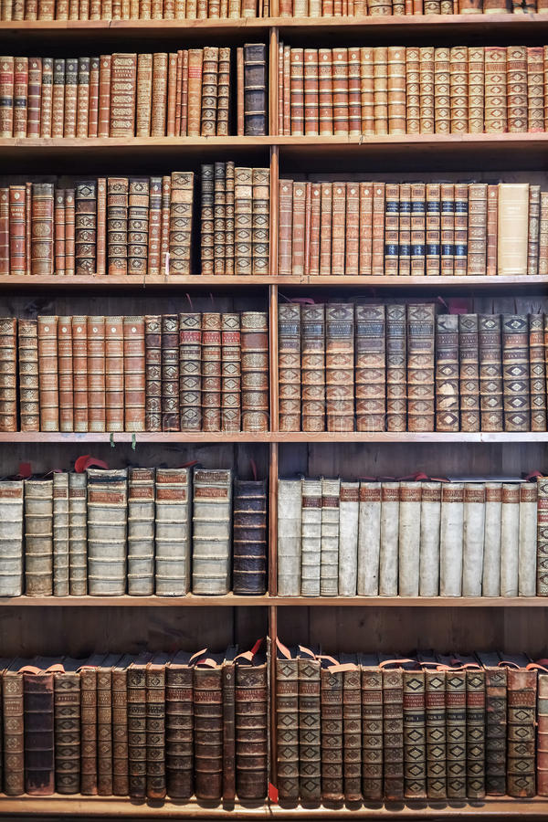 Livros velhos em prateleiras de madeira no estado Hall Prunksaal fotos de stock royalty free
