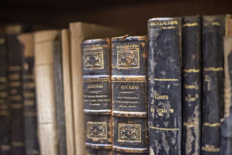 Livros velhos em prateleiras em uma biblioteca foto de stock
