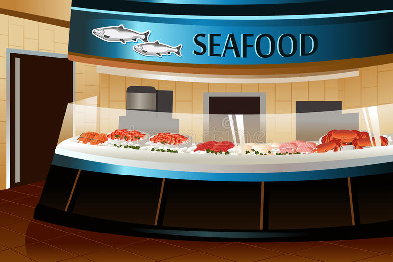 Livsmedelsbutik: havs- avsnitt stock illustrationer
