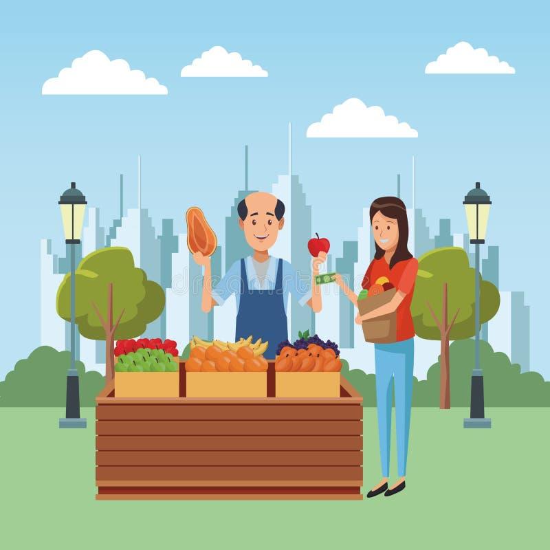 Livsmedelsbutikaffärstecknad film vektor illustrationer