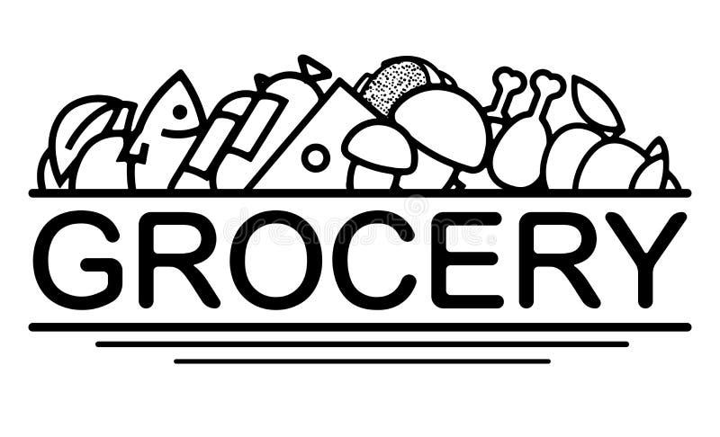 Livsmedelsbutikdesign med symboler av olika foods Använt för banret, logoen, etiketten, kan att förpacka design För dekor av livs vektor illustrationer