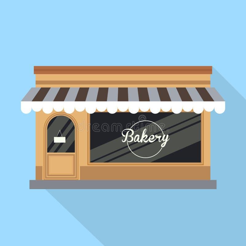 Livsmedelsbutiken kakakafét, bröd shoppar Bagerilagerbakgrund bagerit shoppar, bagerisötsaker stock illustrationer