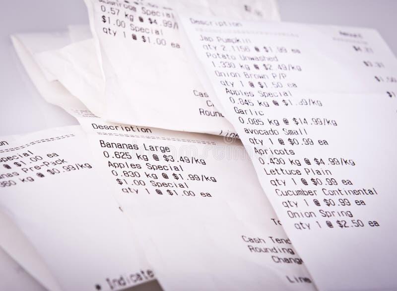 Livsmedelsbutiken kvitterar arkivfoto