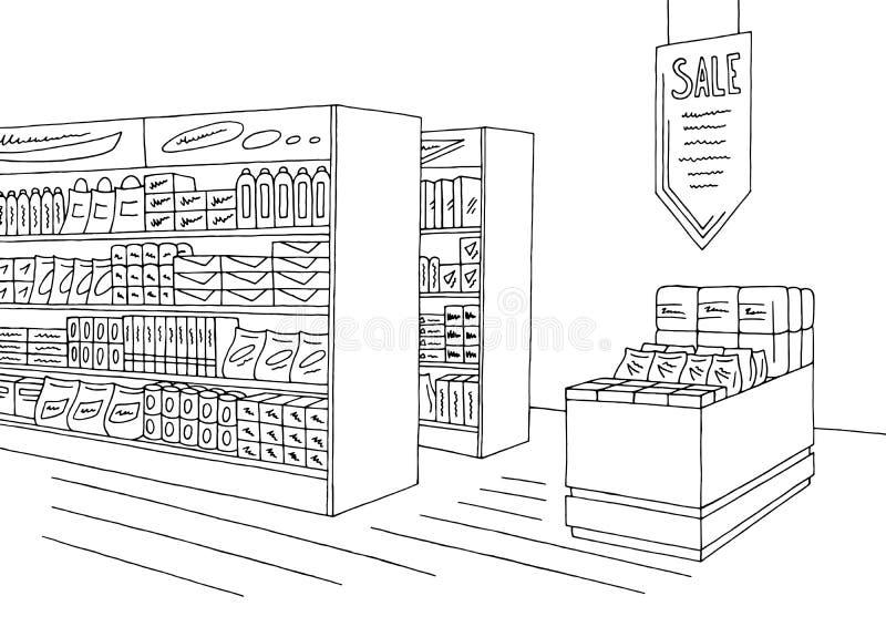 Livsmedelsbutiken shoppar inre som det svarta vita diagrammet skissar illustrationvektorn stock illustrationer