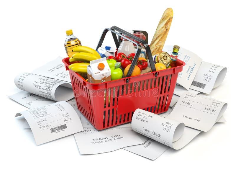 Livsmedelsbutiken uppta som omkostnad budgeten och consumerism Shoppingkorg med foods på högen av kvittot som isoleras på vit stock illustrationer