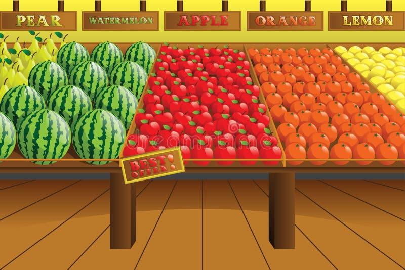 Livsmedelsbutikjordbruksproduktergång royaltyfri illustrationer