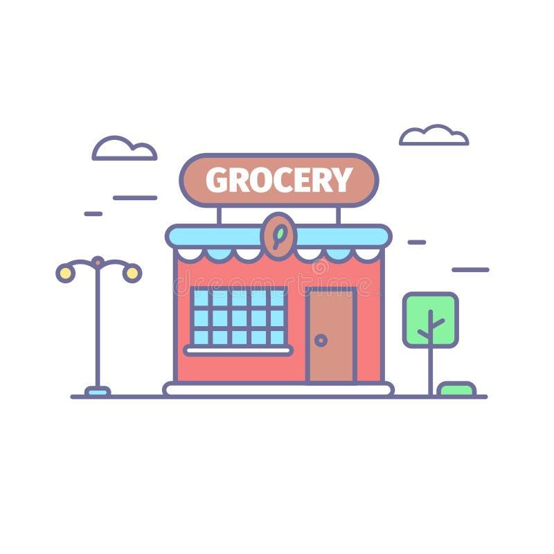 Livsmedelsbutiklinje symbol i moderiktiga färger Litet gulligt shoppar framdelen stock illustrationer