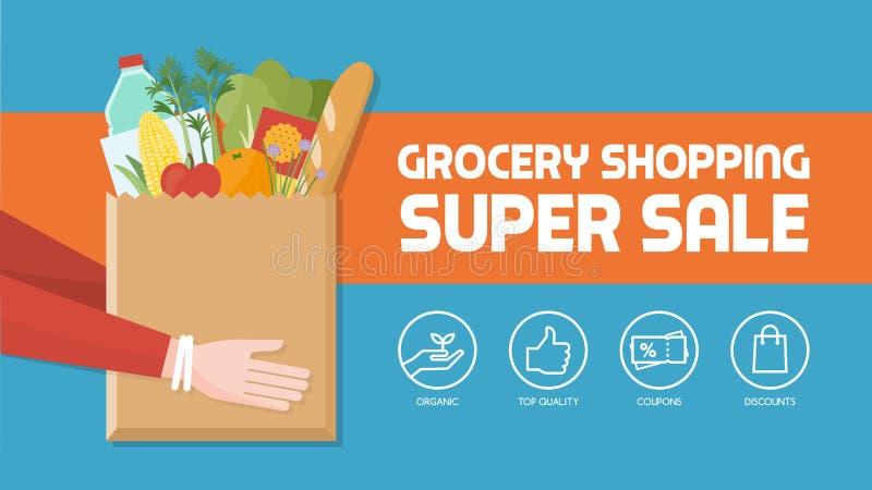 Livsmedelsbutikshopping vektor illustrationer