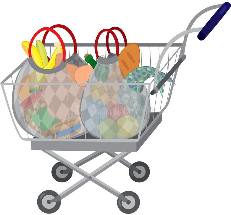 Livsmedelsbutikshoppingvagn med fulla påsar vektor illustrationer