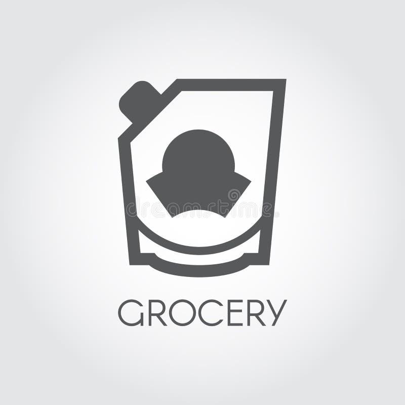 Livsmedelsbutikskårasymbol Majonnäs-, ketchup-, doypack- eller senaplägenhetetikett Matserieknapp också vektor för coreldrawillus stock illustrationer