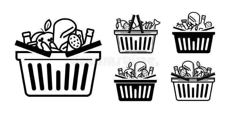 Livsmedelsbutiksymbol Shoppingvagn eller korg mycket med mat och drinkar också vektor för coreldrawillustration royaltyfri illustrationer
