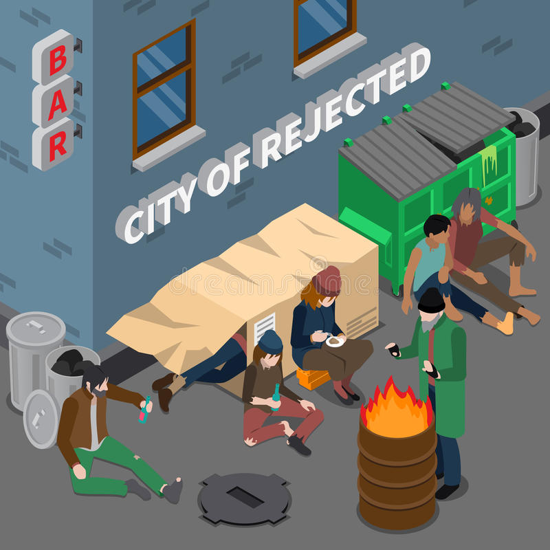 Livsstil av isometrisk sammansättning för hemlöst folk stock illustrationer