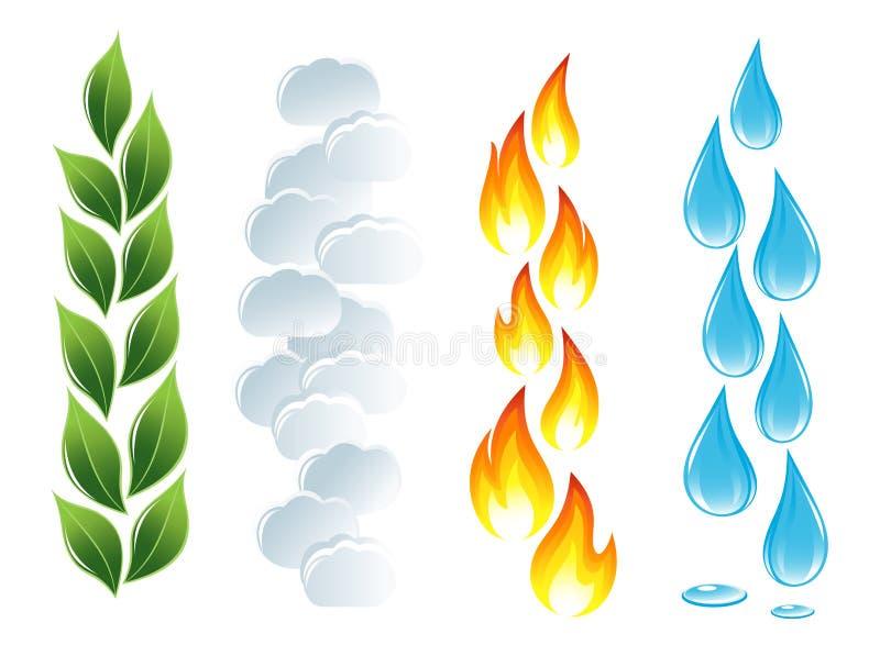 livstid för element fyra stock illustrationer