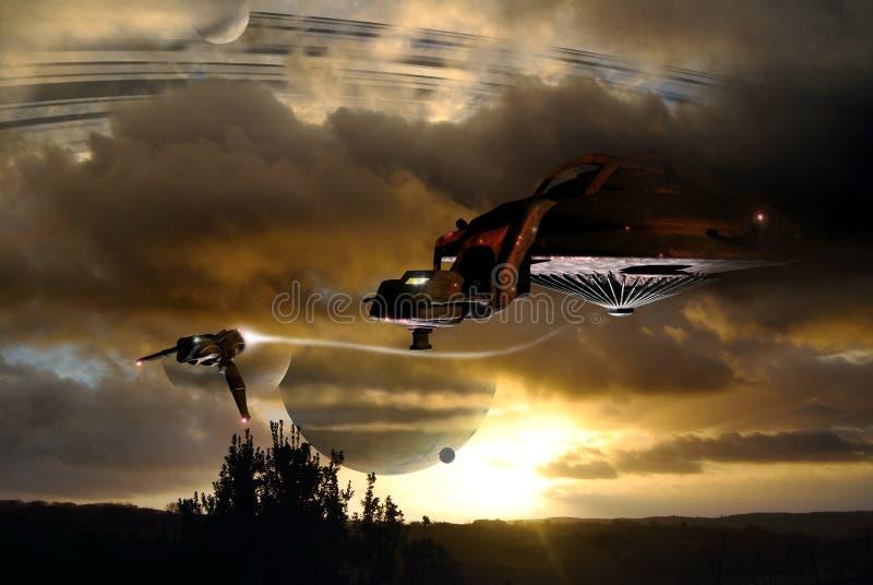 livstid som ser spaceshipen stock illustrationer