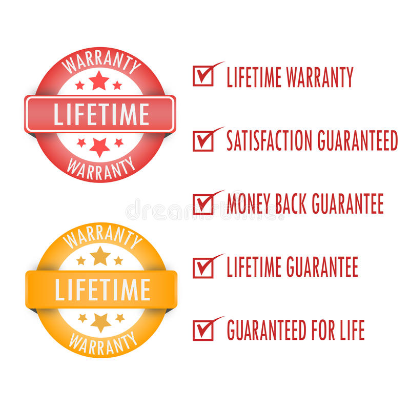 Livstidgaranti vektor illustrationer