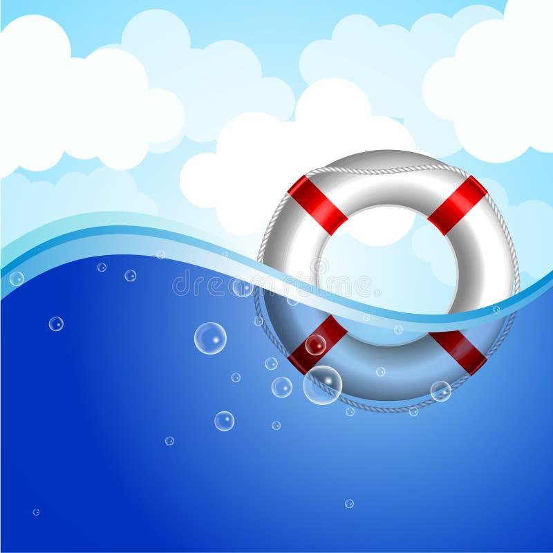 Livstidsboj i vatten stock illustrationer