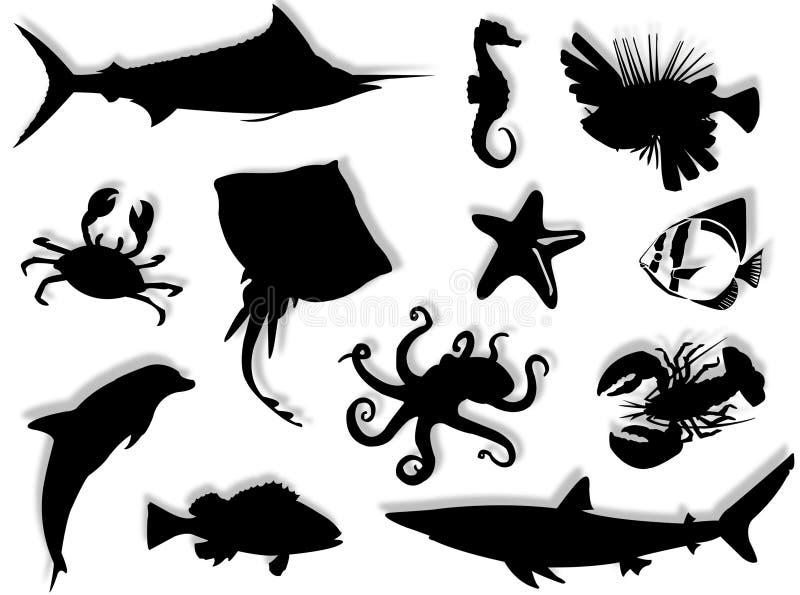 livstidshavssilhouette vektor illustrationer
