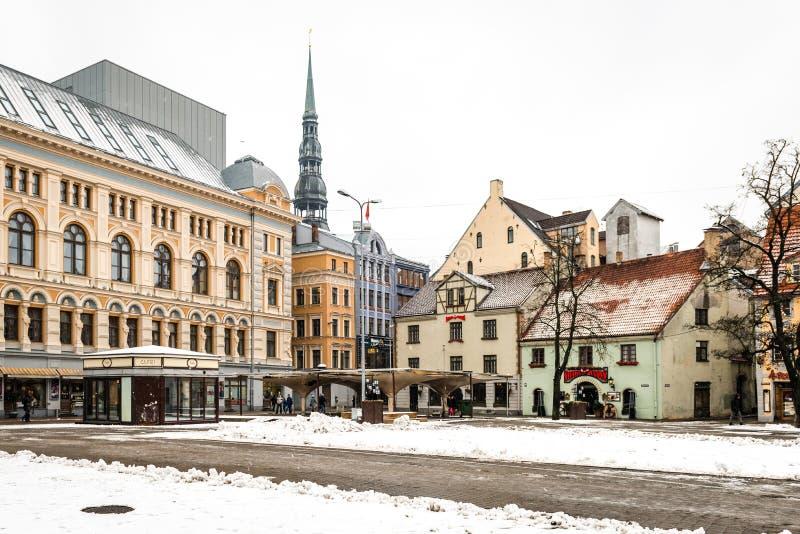 Livu Laukums vierkant, Oud Riga, Letland royalty-vrije stock fotografie