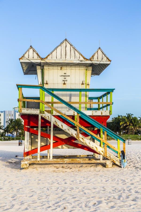 Livvakttorn på den södra stranden, Miami, Florida arkivbild