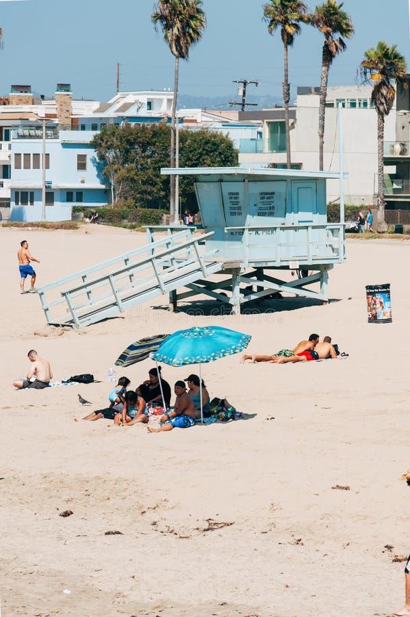 Livvakttorn på en Venedig strand i Los Angeles Kalifornien USA royaltyfria foton