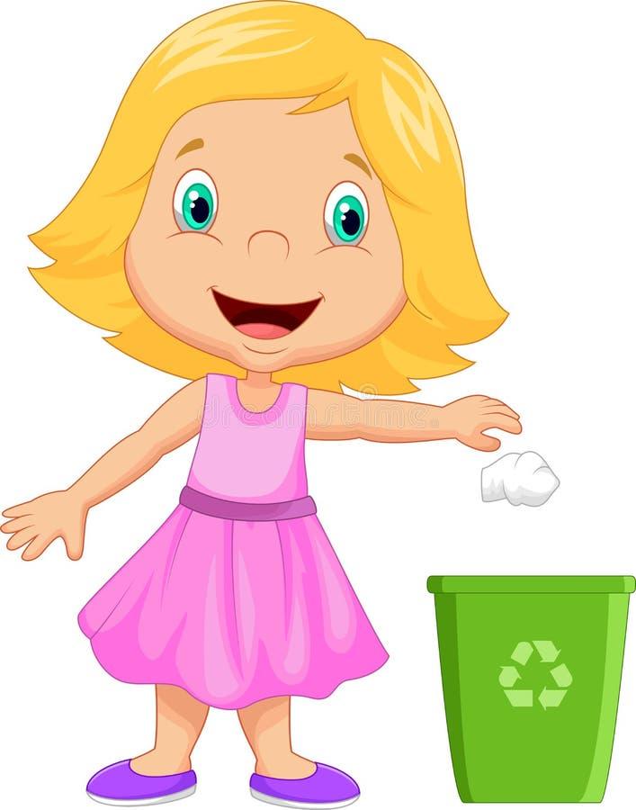 Lixo de jogo dos desenhos animados da moça na cesta de lixo ilustração do vetor