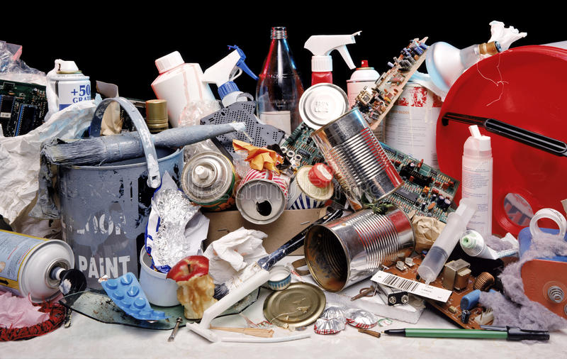 Lixo do agregado familiar - desperdícios - desperdício fotografia de stock royalty free