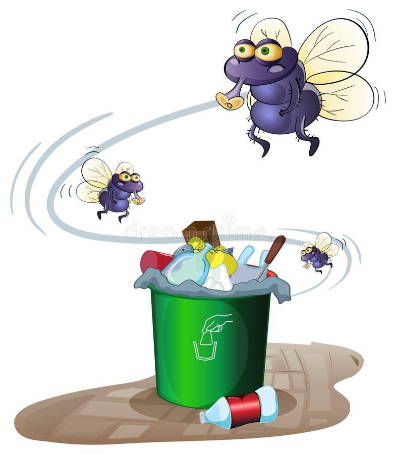 Lixo e moscas ilustração do vetor
