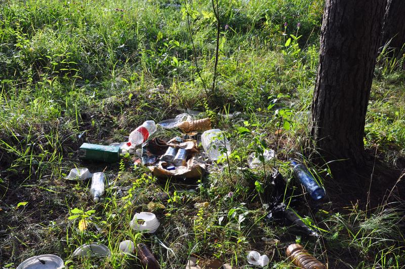 Lixo no lixo ilegalmente jogado dos povos da floresta na floresta imagens de stock royalty free