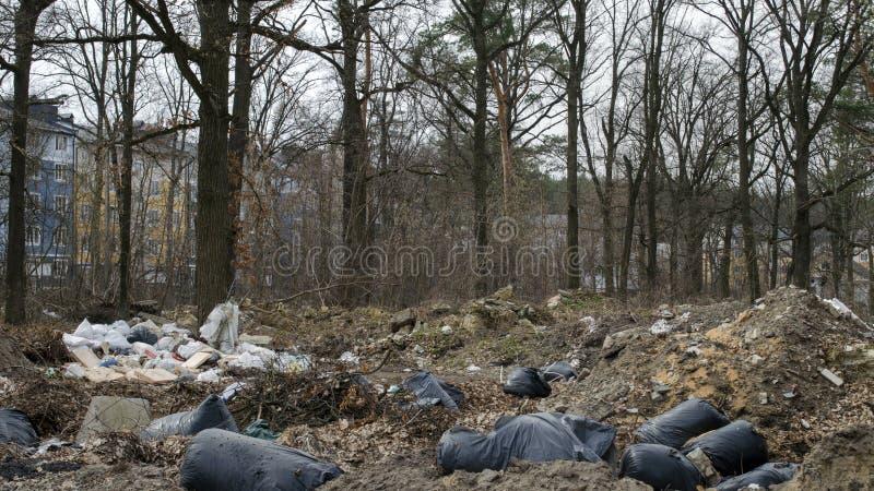 Lixo nos subúrbios da cidade Conceito da polui??o foto de stock