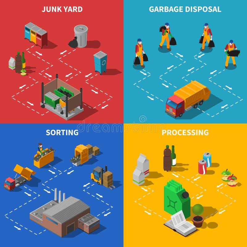 Lixo que recicla os ícones isométricos do conceito ajustados ilustração royalty free