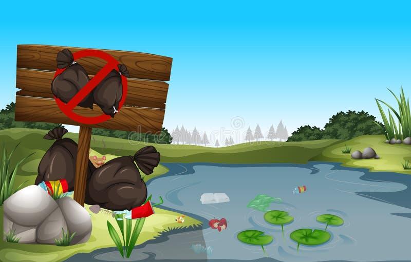 Lixo sujo pela lagoa ilustração stock