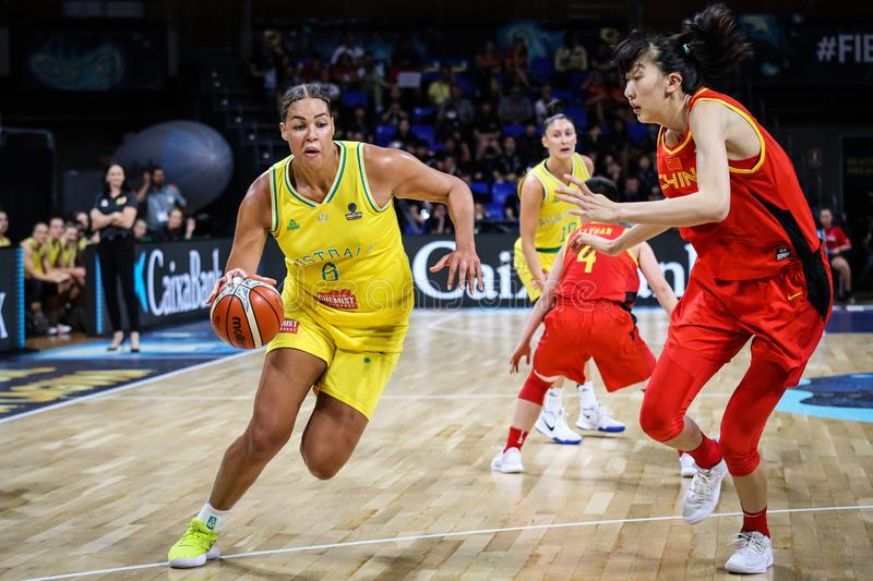 Liz Cambage in action during basketball match AUSTRALIA vs CHINA stock photography