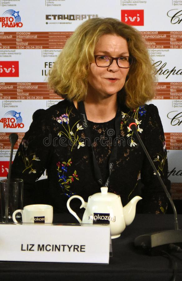 Liz McIntyre, the CEO and Director of Sheffield Doc/Fest. At press conference of 40th Moscow International Film Festival. Date: April 20, 2018. Place: Moscow royalty free stock images