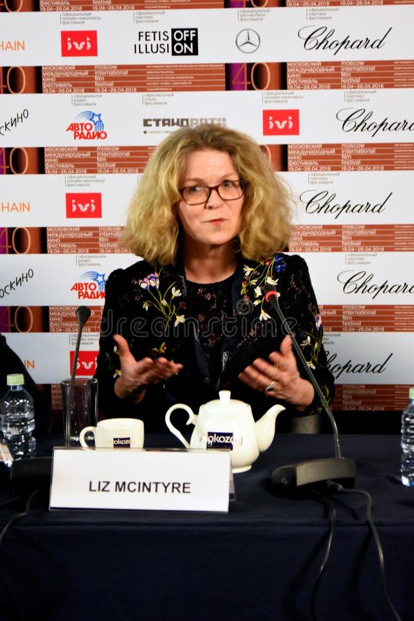 Liz McIntyre, the CEO and Director of Sheffield Doc/Fest. At press conference of 40th Moscow International Film Festival. Date: April 20, 2018. Place: Moscow stock photography