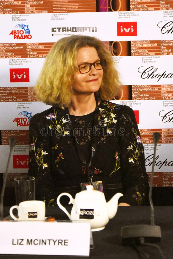 Liz McIntyre, the CEO and Director of Sheffield Doc/Fest. At press conference of 40th Moscow International Film Festival. Date: April 20, 2018. Place: Moscow royalty free stock photo