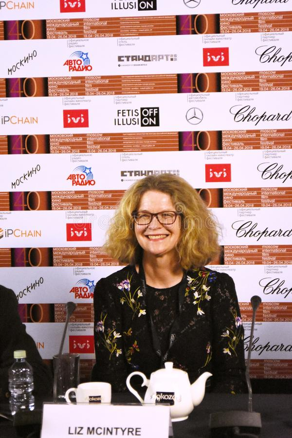 Liz McIntyre, the CEO and Director of Sheffield Doc/Fest. At press conference of 40th Moscow International Film Festival. Date: April 20, 2018. Place: Moscow stock image