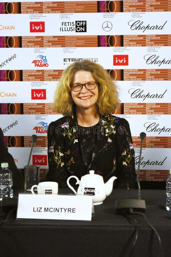 Liz McIntyre, the CEO and Director of Sheffield Doc/Fest. At press conference of 40th Moscow International Film Festival. Date: April 20, 2018. Place: Moscow stock images