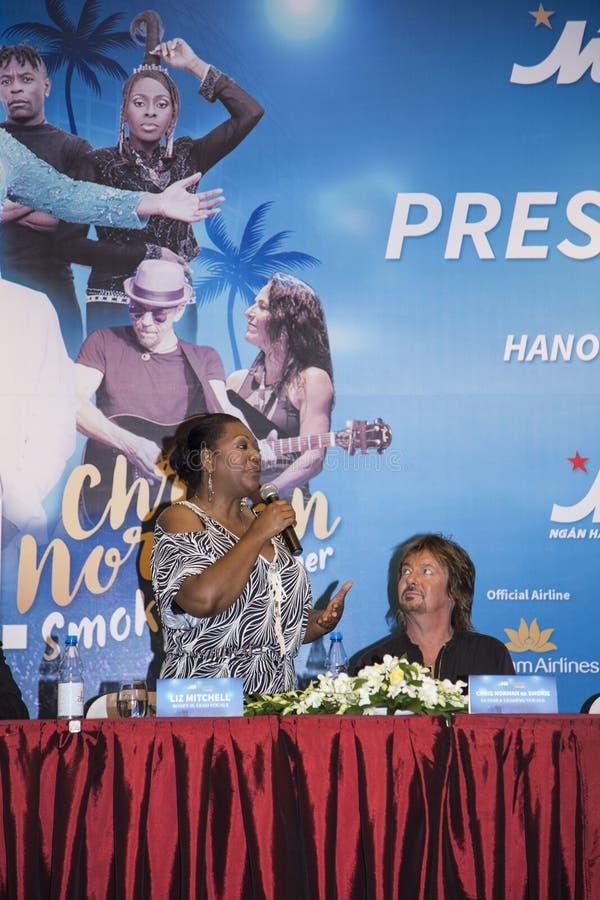 Liz Mitchell (Boney M) and Chris Norman (Smokie ex-singer) joining a press briefing. Hanoi, Vietnam - Sep 30, 2016: Liz Mitchell (Boney M) and Chris Norman ( stock images
