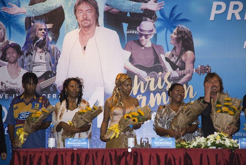 Liz Mitchell (Boney M) and Chris Norman (Smokie ex-singer) joining a press briefing. Hanoi, Vietnam - Sep 30, 2016: Liz Mitchell (Boney M) and Chris Norman ( stock photos