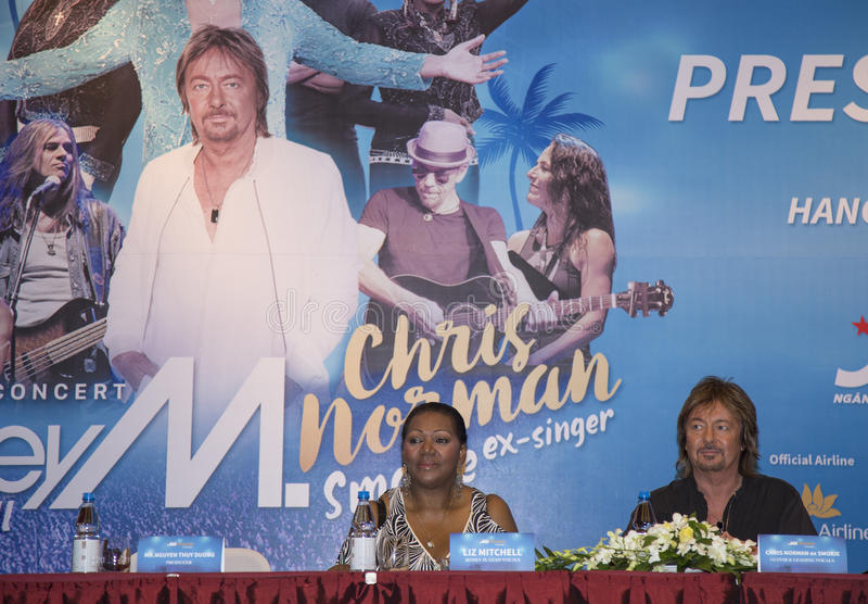 Liz Mitchell (Boney M) and Chris Norman (Smokie ex-singer) joining a press briefing. Hanoi, Vietnam - Sep 30, 2016: Liz Mitchell (Boney M) and Chris Norman ( royalty free stock image