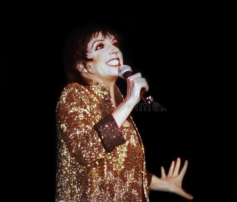 Liza Minnelli Performs at a Chicago Concert. Actress, singer, and dancer Liza Minnelli performs at he Loop Alive concert series at the Chicago Theatre in Chicago royalty free stock photography