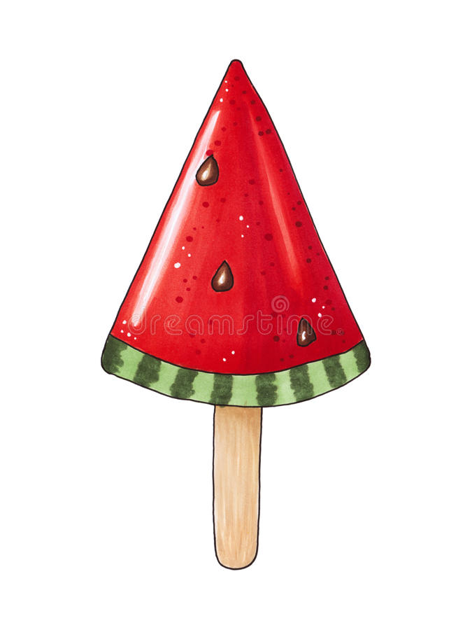 Lizak na kiju w formie kawałek arbuz ilustracja wektor