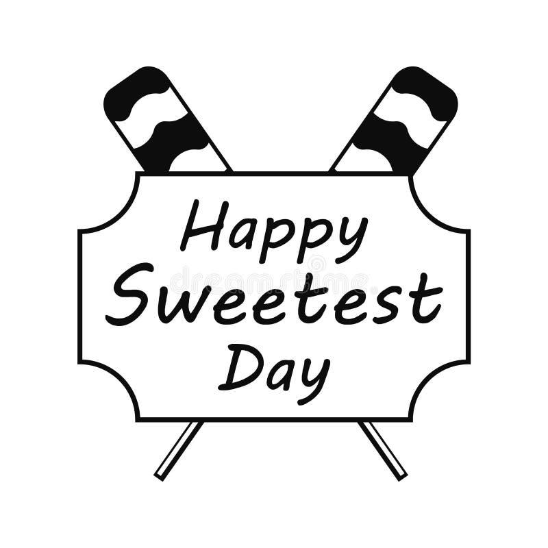 Lizaka dnia słodki logo, prosty styl royalty ilustracja